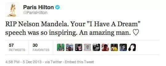 tweet fake paris hilton nelson mandela