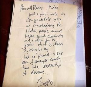 Lettera Bono Vox a Matteo Renzi, Matteo Renzi, U2, Bono Vox scrive a Renzi