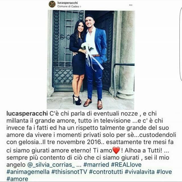 Lucas Peracchi, matrimonio Lucas Peracchi, Silvia Corrias,