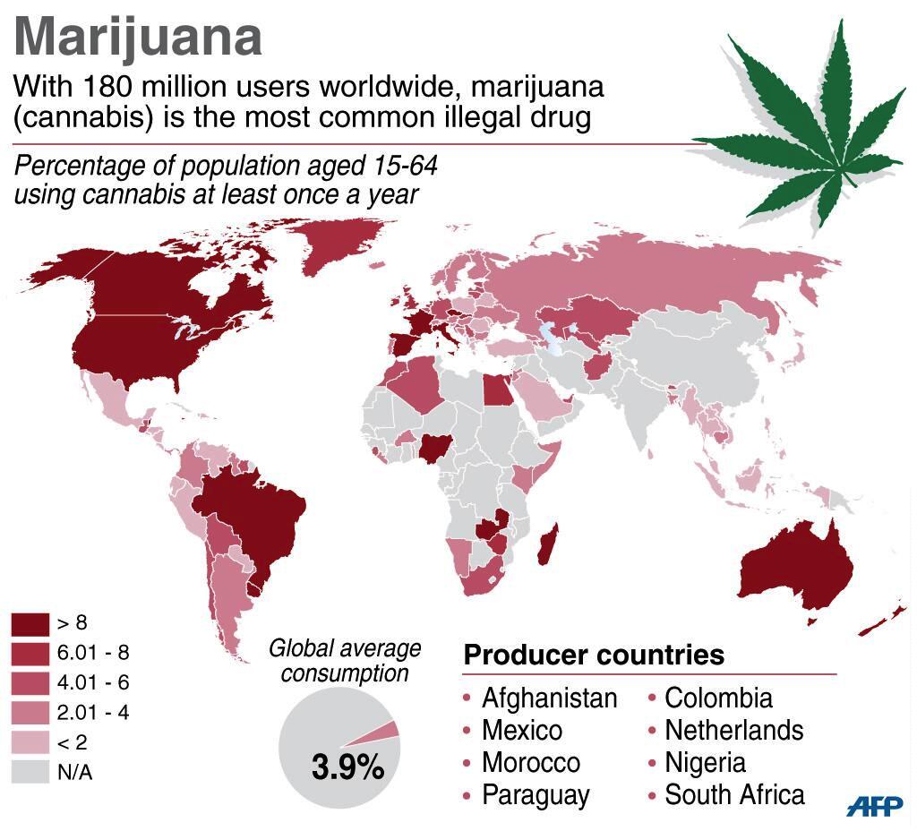percentuali uso marijuana nel mondo italia tra i primi