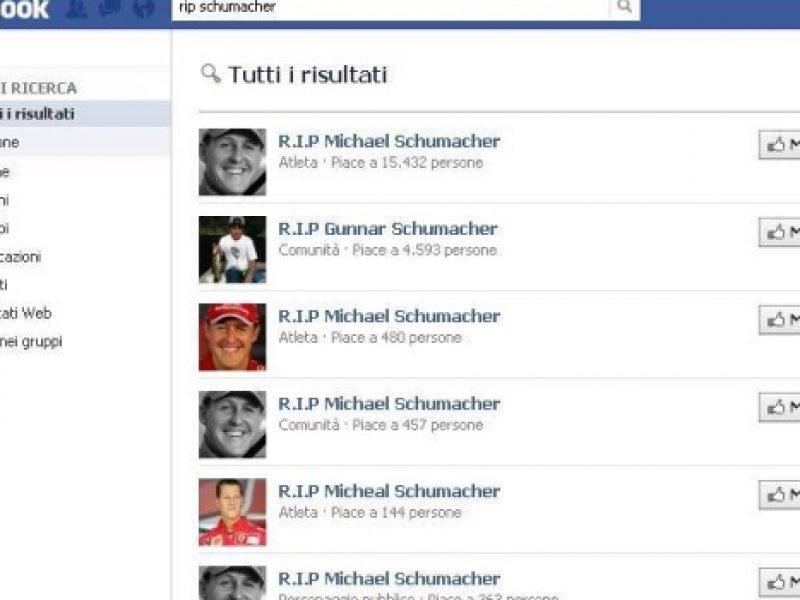 pagine di cordoglio su Facebook per Schumacher