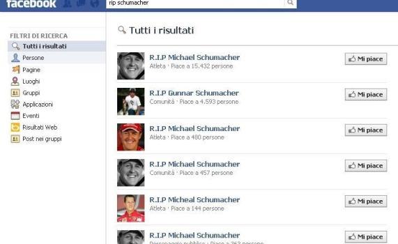 Utenti di Facebook danno Schumacher per spacciato | Decine le pagine di cordoglio nate in poche ore