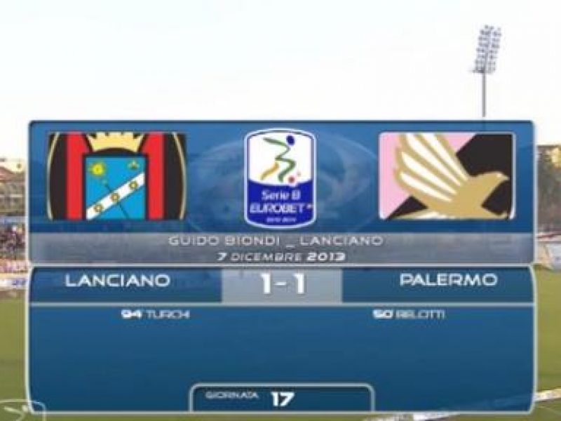 Lanciano-Palermo 1-1 Belotti, Turchi highlights sintesi