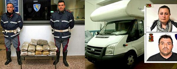 Trasportavano 22 chili di marijuana dentro un camper   Arrestata una coppia vicino Modica