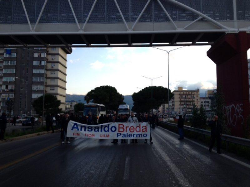 palermo viale regione siciliana protesta ansaldobreda carini cassaintegrazione