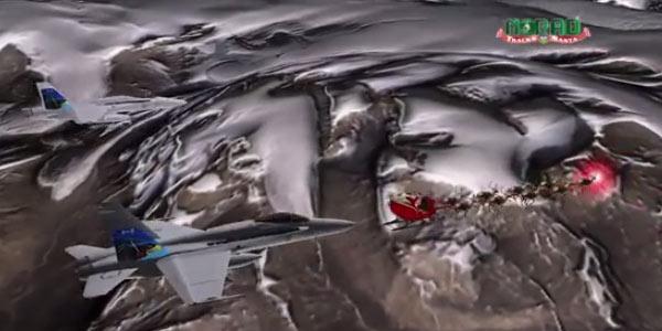 La slitta di Babbo Natale scortata da due caccia americani/VIDEO