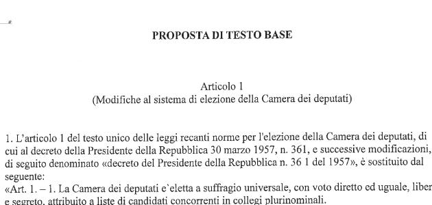 La bozza della proposta di legge per la riforma elettorale for Sistema elettorale camera dei deputati