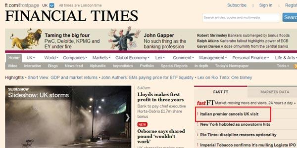 """Financial Times: """"Letta cancella visita in Gran Bretagna"""""""