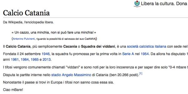 Calcio Catania, gli insulti arrivano su Wikipedia | Utente anonimo offende la storia della società