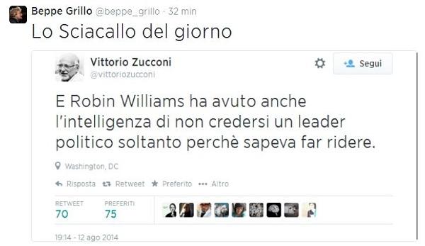 Grillo-Zucconi, è scontro su Twitter   Il pretesto: il povero Robin Williams