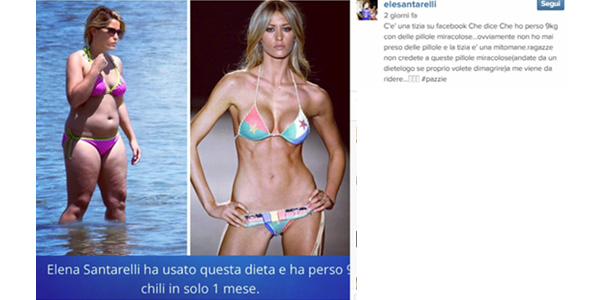 """Elena Santarelli vittima di una bufala: """"Non ho preso pillole per dimagrire"""""""