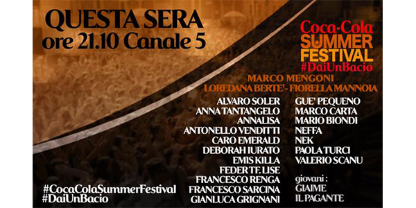 """""""Coca Cola Summer Festival"""": Mengoni, Mannoia e Bertè ospiti della seconda puntata"""