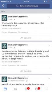 Facebook Benjamin Cazenoves ostaggio teatro Bataclan