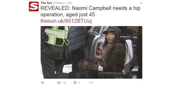 Naomi Campbell sulla sedia a rotelle: il dramma della Venere Nera