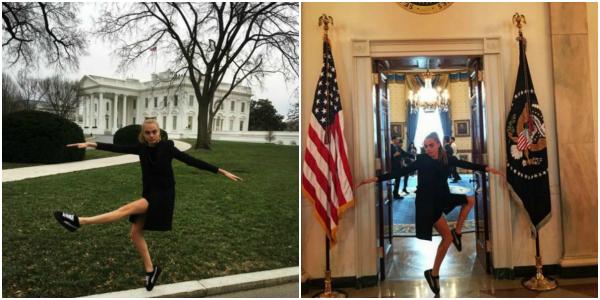 """Cara Delevingne alla Casa Bianca: gli scatti sono esilaranti <u><b><font color=""""#343A90"""">FOTO</font></u></b>"""