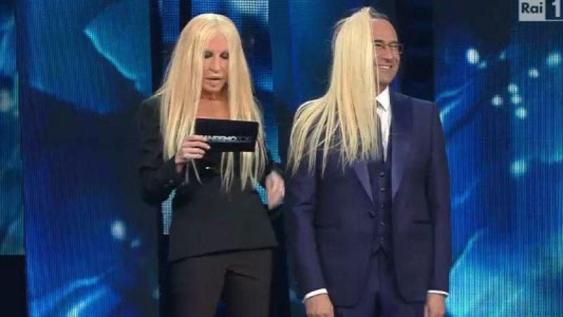 Sanremo 2016, Virginia Raffaele diventa Donatella Versace e Carlo Conti si diverte… /VIDEO