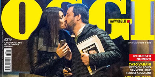 """Gossip, Matteo Salvini bacia Elisa Isoardi: """"Non riesco a vivere senza di lei"""""""