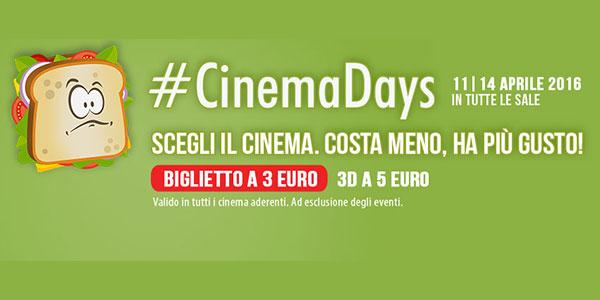"""Tornano i """"CinemaDays"""": biglietti a tre euro dall'11 al 14 aprile"""