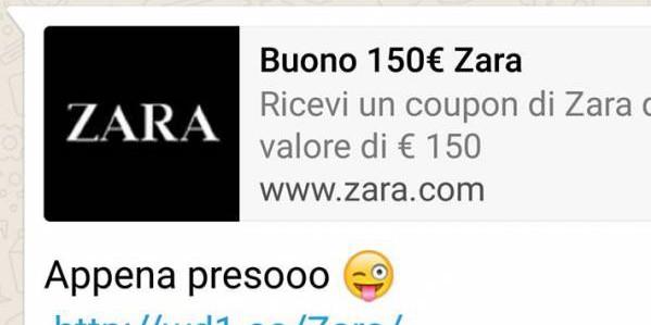 Whatsapp, falso messaggio promozionale di Zara | È una truffa per prosciugare il credito