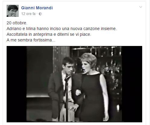 Gianni Morandi pubblica su Fb la nuova canzone Mina-Celentano