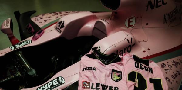 Force India, le magliette del Palermo in regalo per Ocon e Perez/ FOTO