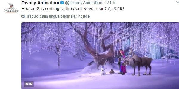 'Frozen 2' uscirà al cinema nel novembre del 2019. Lo annuncia la Disney