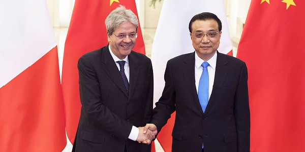 Gentiloni primo ministro cinese Li Keqiang Cina