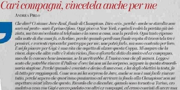"""Champions, Pirlo scrive alla Juve: """"Vincetela anche per me"""""""