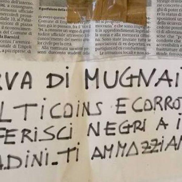 busta minacce sindaco empoli, Empoli medaglia resistenza, minaccia Barnini, minaccia sindaco Empoli, svastiche barnini