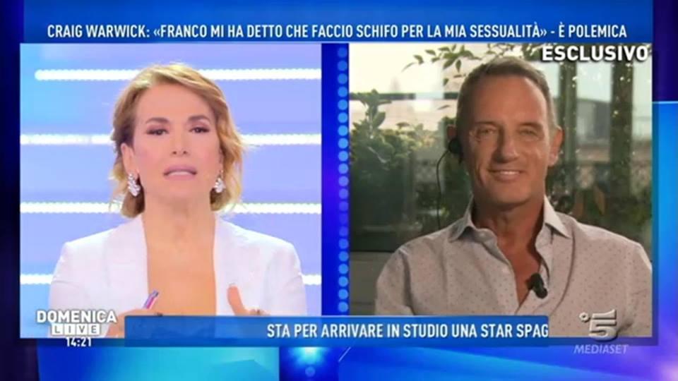 """Domenica Live, CraigWarwick: """"Di Franco ne ho parlato con lo psicologo dell'isola"""""""