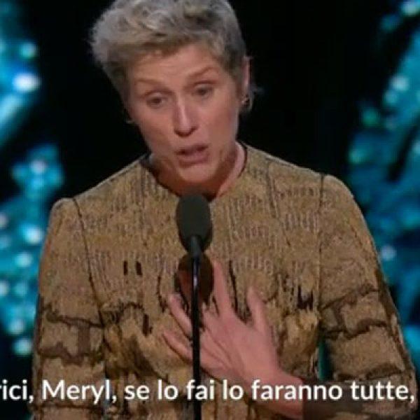Oscar 2018, tutte in piedi per il discorso di Frances McDormand