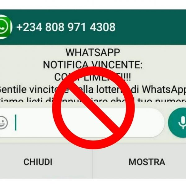 WhatsApp, premio lotteria in chat è solo una bufala