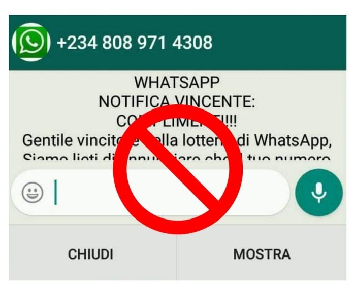 WhatsApp, premio lotteria in chat è solo una bufala