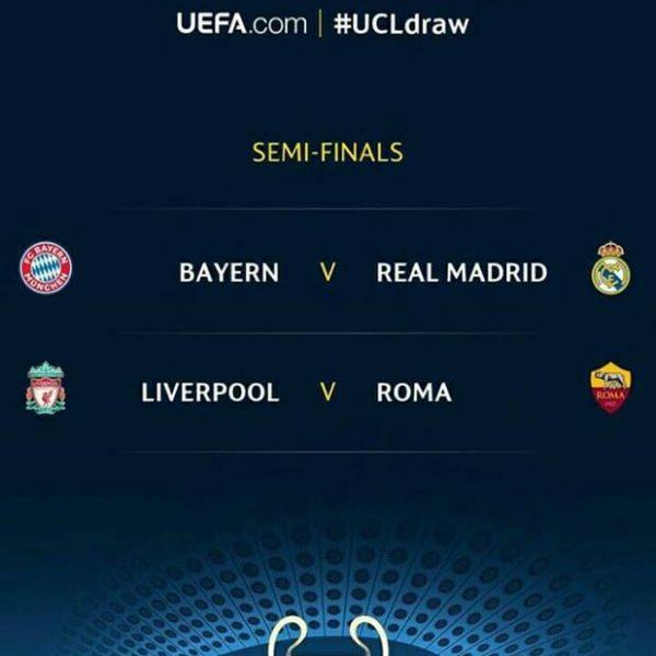 Champions League, le semifinali: Roma - Liverpool e Real - Bayern