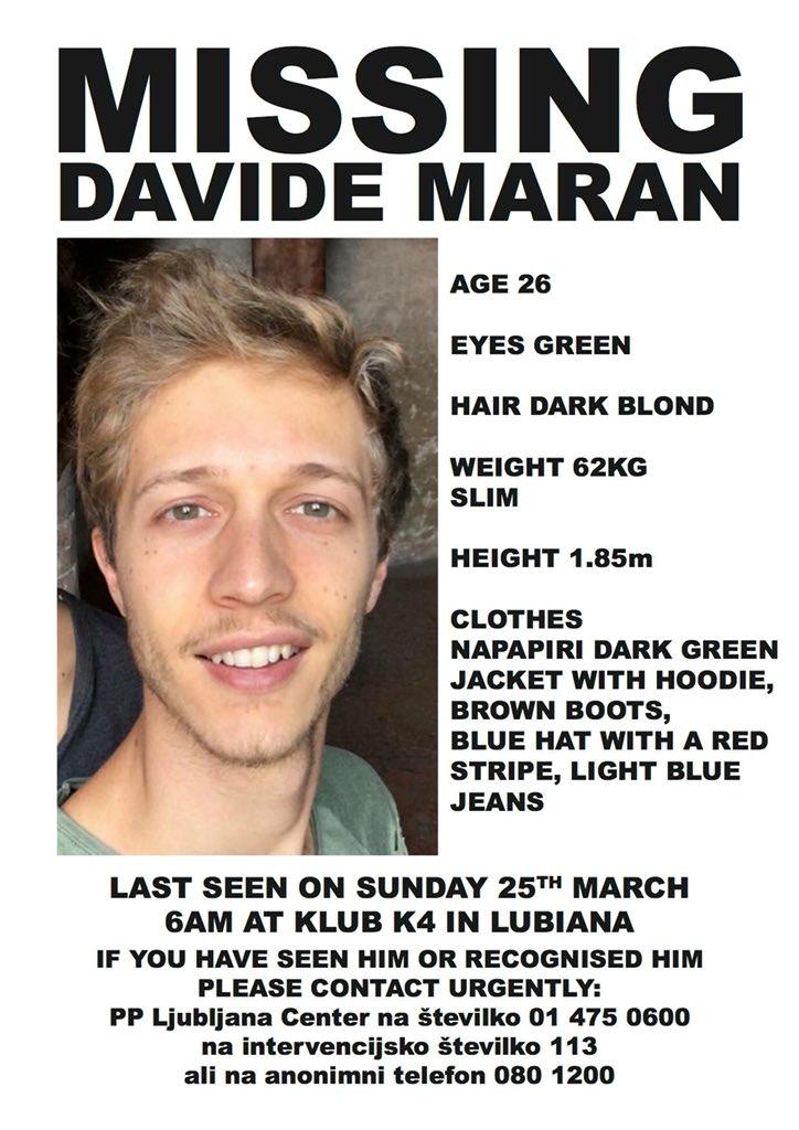 Lubiana, lo studente Davide Maran è scomparso