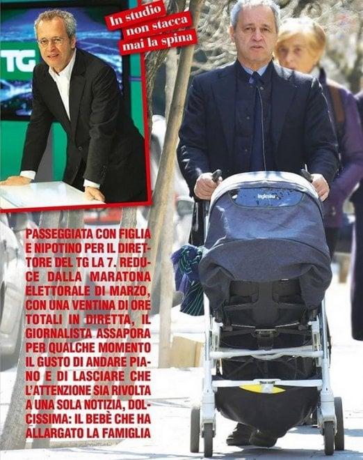"""Enrico Mentana """"nonno"""" per sbaglio: lo scoop di 'Chi' è una bufala"""
