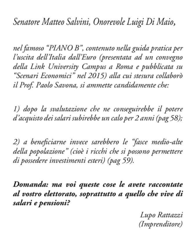 """""""Cari Salvini e Di Maio"""", Rattazzi contro Italexit"""