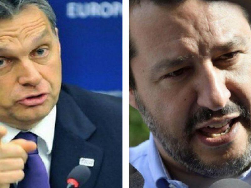 incontro Matteo Salvini, Viktor Orban, migrazione, chiusura porti, protezione frontiere, Un'Europa senza muri, Milano, manifestazione