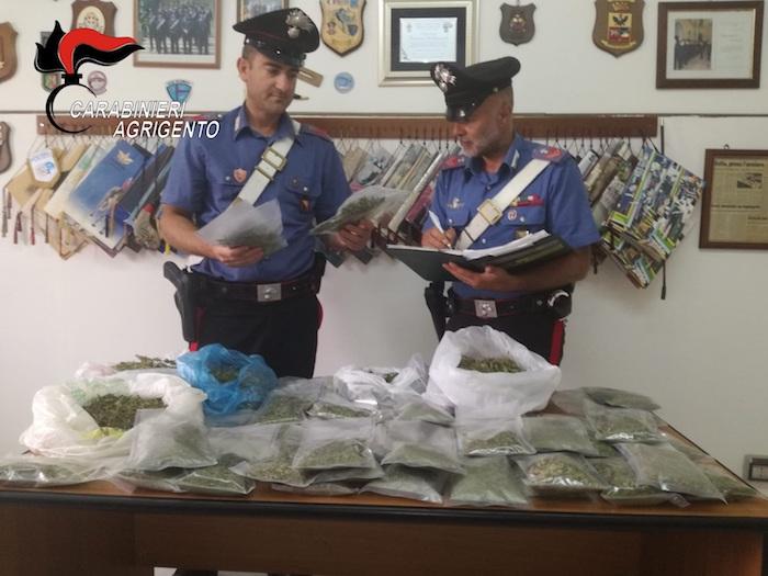 Droga, blitz a Canicattì: trovati in casa 2,5 kg di marijuana