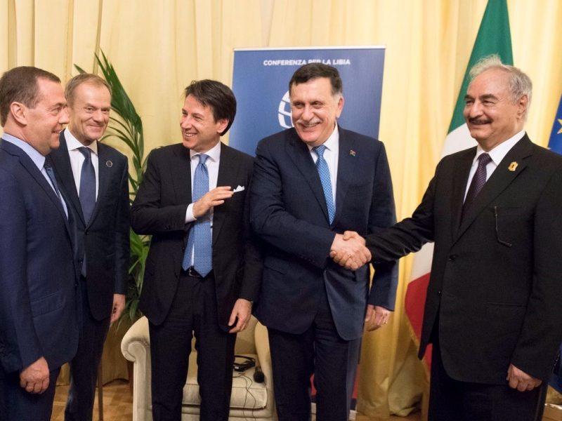 conte, sarraj, haftar, conferenza libia, palermo, pace in libia, leader, villa igiea