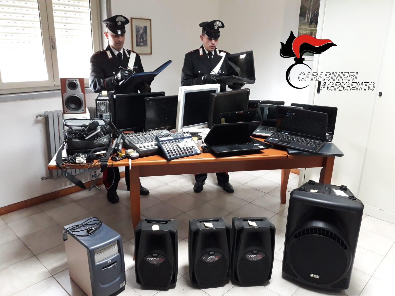 Ribera, furti e ricettazione: 5 denunce