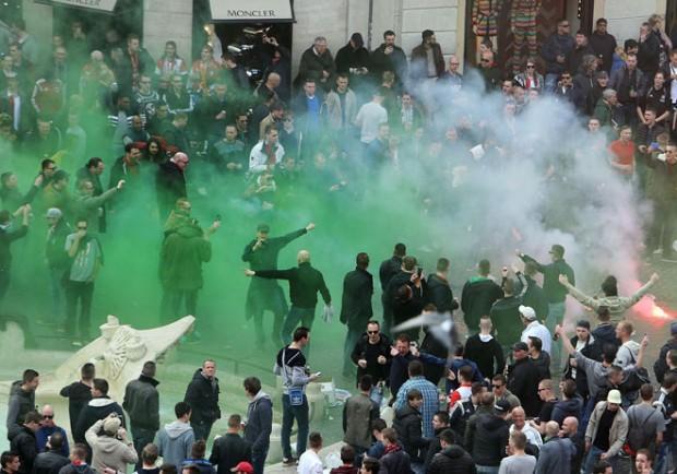 Lazio-Eintracht, scontri fra tifosi