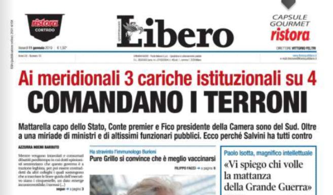 """""""Comandano i terroni"""", la prima pagina razzista di Libero"""