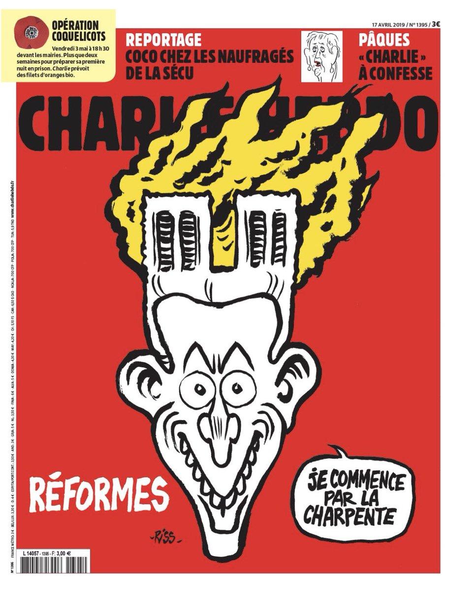 L'incendio di Notre Dame di Parigi nella copertina di Charlie Hebdo