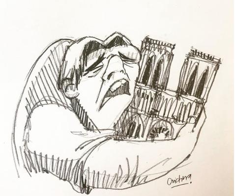 Quasimodo piange e abbraccia la sua Notre Dame, la vignetta diventa virale