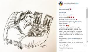 Quasimodo piange, Il gobbo abbraccia Notre Dame, immagine virale, Il Gobbo di Notre Dame, Disney, incendio Notre Dame, vignetta quasimodo, Cristina Correa Freile,