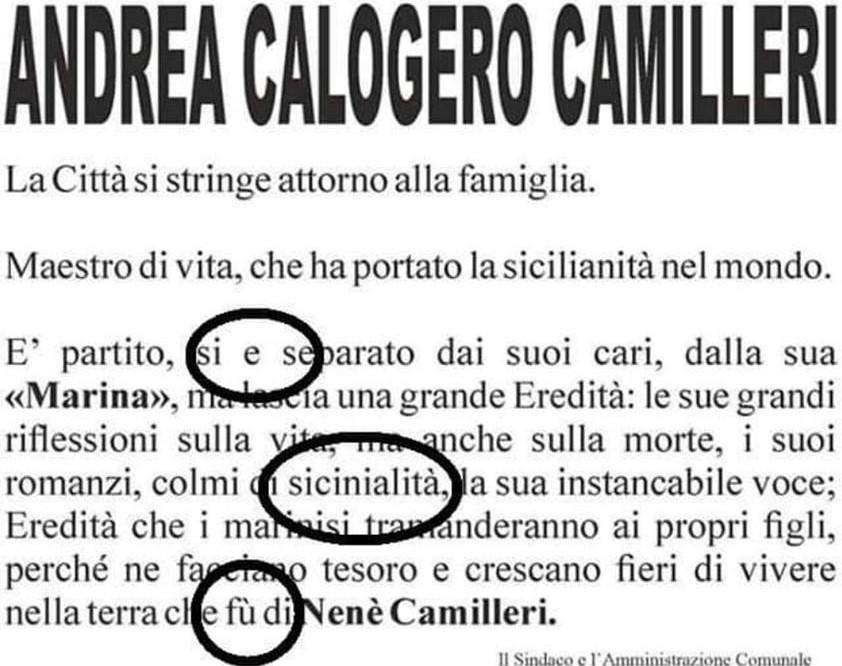 Porto Empedocle dichiara lutto cittadino per Camilleri ma il manifesto è pieno di errori