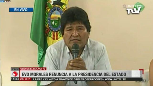 In Bolivia si dimette presidente Morales