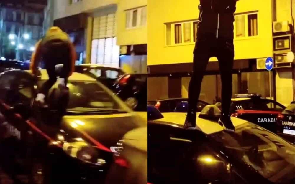 Napoli, il rapper Jordan Jeffrey Baby oltraggia le auto dei carabinieri