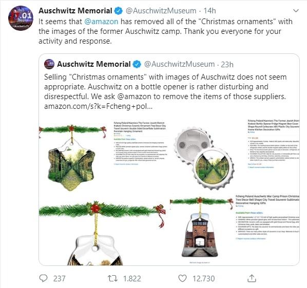 Il museo dell'Olocausto protesta per ornamenti natalizi con i lager. Amazon li rimuove
